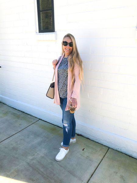 Gray Leopard tee with blush cardigan and jeans paired with white sneaker espadrilles   http://liketk.it/2Ko8l #liketkit @liketoknow.it #LTKspring #LTKshoecrush #LTKunder50