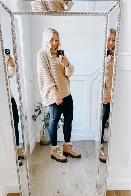 Nordstrom Anniversary Sale   Free people oversized sweater. Really soft! Runs HUGE! I sized down 2 sizes to an XS.   Spanx faux leather leggings   Marc Fisher lace up booties with shearling - so comfortable and warm. Runs true to size.