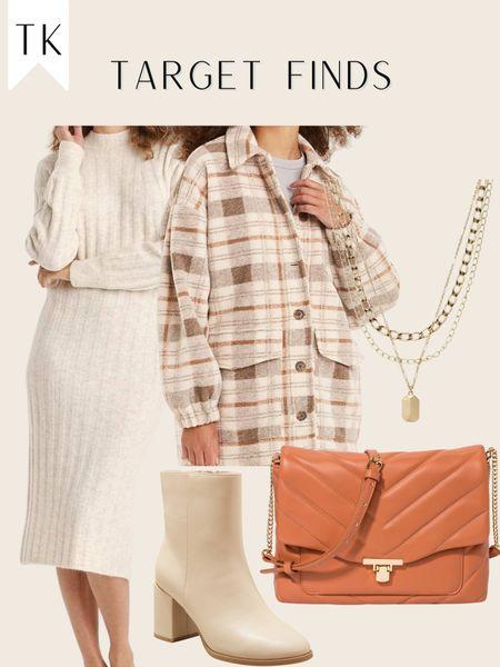 Target finds / target sweater dress / target style / quilted bag / plaid shacket   #LTKunder100 #LTKshoecrush #LTKitbag
