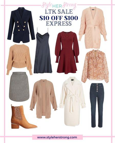 Double breasted blazer cardigan slip dress plaid skirt fall booties floral blouse straight leg jeans sweater dress   #LTKSale #LTKSeasonal #LTKsalealert