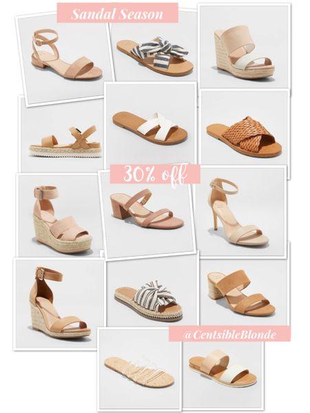 Sandals for spring and summer. Neutral sandals from target. 30% off sale    http://liketk.it/2O6aR #liketkit @liketoknow.it #LTKsalealert #LTKshoecrush #LTKspring