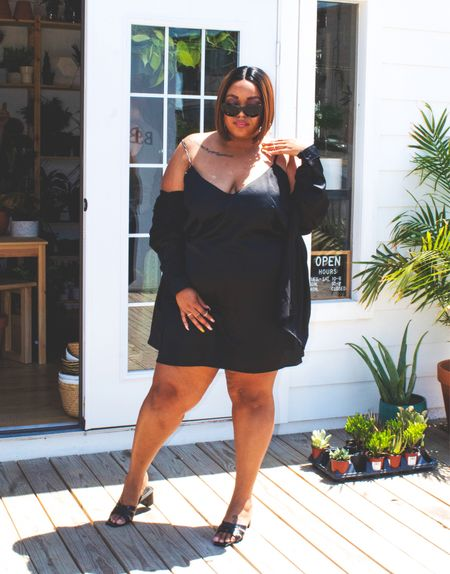 You cannot go wrong with a classic, honey. The plus size LBD (little black dress) is perfect for date night, casual days, cocktails with friends. Add satin into the mix and you've got an elevated piece you can even wear as a wedding guest dress.   #LTKunder50 #LTKwedding #LTKcurves