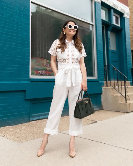 Similar options to my Christy Lynn Collection white linen eyelet jumpsuit   #LTKitbag #LTKstyletip #LTKsalealert