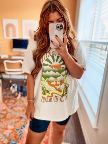 """The cutest new graphic tee and my 8"""" lulu align shorts. I got a S/M in tee and 8 in shorts.     #LTKstyletip #LTKunder50"""