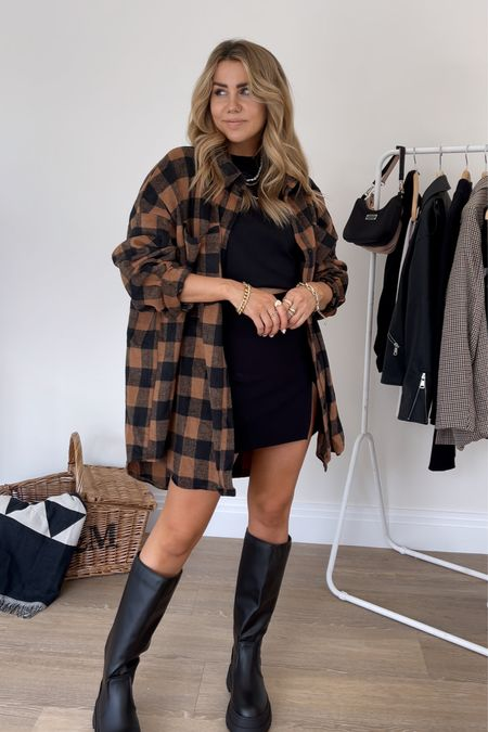 Oversized brown flannel check shirt with missguided knee high chunky boots and slit skirt - fall style - fall outfit - autumn outfit   #LTKunder50 #LTKeurope #LTKSeasonal