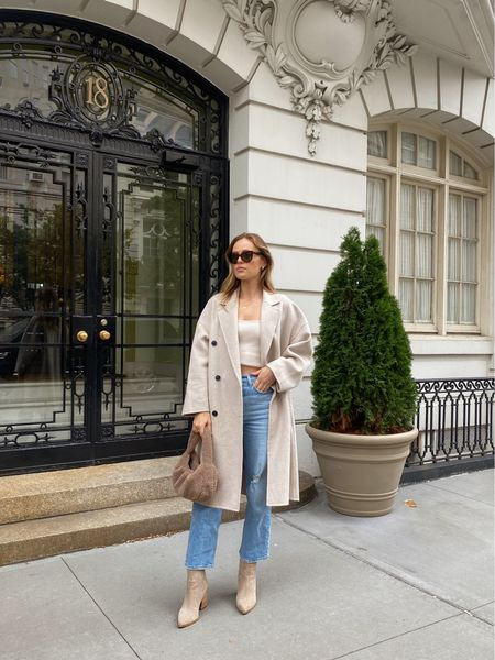 Mango gray oversized coat, wearing a size small Marc Fisher suede boots, fits true to size Levi's jeans fit true to size  #LTKSeasonal