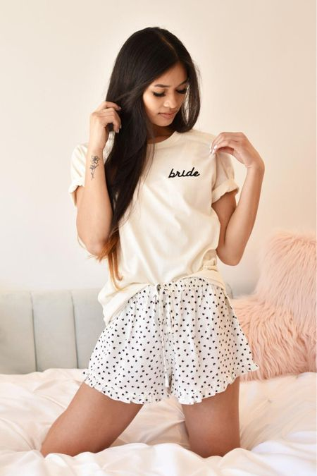 """Cutest """"getting ready"""" tees and pj shorts for your bridal party! 💋  #LTKstyletip #LTKunder50 #LTKwedding"""