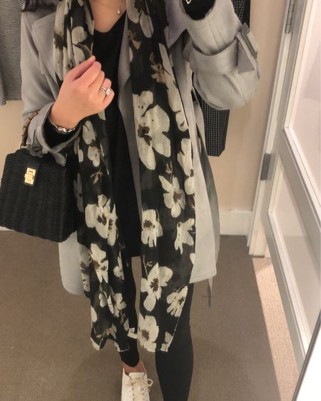 Today's #ootd. This trench (c/o and featured in my 9/13 sponsored post) runs large and I took size XXSP. It's currently 50% off with code MYSTERY50 at Ann Taylor. My floral scarf is an old favorite from LOFT. I also wore out the new Ponte legging pants from LOFT in my usual size 0P and they are so comfy and slimming! @liketoknow.it http://liketk.it/2xsyu #liketkit #LTKsalealert #LTKstyletip #LTKshoecrush #LTKunder100 #LTKunder50