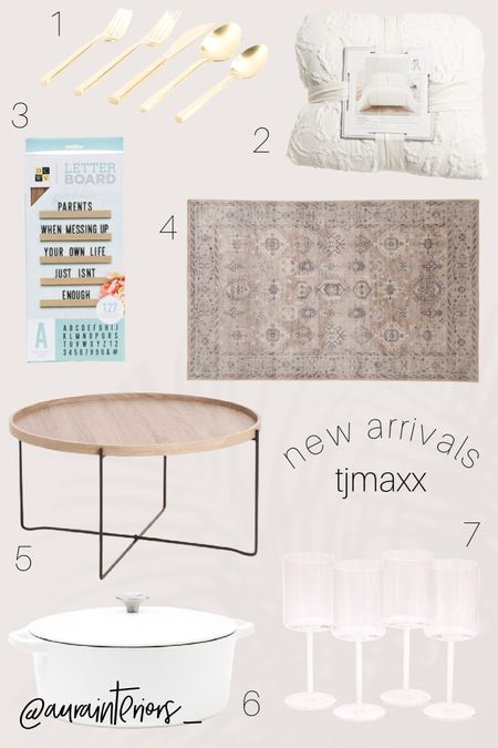 My top new arrival picks from my favorite store on earth 🙃 This small round wood coffee table is only $129.99!  Shop my daily looks by following me on LIKEtoKNOW.it! 🛍 http://liketk.it/38Sl1 #liketkit @liketoknow.it @liketoknow.it.home #LTKhome   tjmaxx, HomeGoods, new tjmaxx, new HomeGoods, tjmaxx new arrivals, homegoods new arrivals, tjmaxx February 2021, tjmaxx March 2021, HomeGoods February 2021, HomeGoods March 2021, tjmaxx feb 2021, tjmaxx top picks, HomeGoods feb 2021, HomeGoods top picks, small light wood coffee table, small round coffee table, coffee table under $150, affordable coffee table, round wood coffee table, light wood coffee table, wood black coffee table, minimal coffee table, wood shelf letterboard, shelf letterboard, letters on shelf, wall letterboard, wall shelf letters, letterboard nursery, 3x5 neutral rug, 3x5 patterned rug, 3x5 rug, 3x5 vintage rug, 3x5 blush rug, blush patterned rug, white textured comforter, cream textured comforter, white comforter tjmaxx, cream comforter, white comforter, best round coffee table, best white comforter, best white duvet, square wine glasses, trendy wine glasses, modern wine glasses, red wine glasses, white cuisinart Dutch oven, white Dutch oven, 7 quart Dutch oven, 7 qt Dutch oven, white 7 quart Dutch oven, Dutch oven sale, cuisinart sale, gold flatware, gold utensils, brass flatware, brass utensils, affordable gold utensils, affordable brass utensils, affordable gold flatware, affordable brass flatware, new arrivals, new at HomeGoods, new at tjmaxx