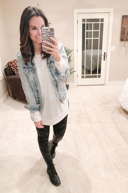 It's been a minute since I've worn my favorite distressed denim jacket and I was quickly reminded today why I love it so much. I just feel so good in it and the denim is super comfortable! I'm wearing a size medium, so it's tts.  Long sleeve layering tshirt, size up, great length for leggings. Also camo faux leather leggings I would suggest sizing up one as well. Combat boots are true to size.   http://liketk.it/37tiC #liketkit @liketoknow.it   You can instantly shop all of my looks by following me on the LIKEtoKNOW.it shopping app
