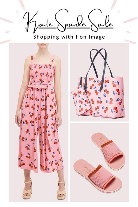 """🍒🍒🍒 Very cherry Kate Spade ♠️ summer sale picks by your very own virtual personal stylist and shopper = me.  🍒 """"Cherry Toss"""" jumpsuit and fluter sleeve top in rosy carnation pink  🍒 """"Molly Cherries"""" large tote with matching pouch  🍒 Knitted spade pool slides """"Festival"""" - Last sizes!  🍒 """"Spencer"""" small dome crossbody   🍒 Fun and fabulous cherry hair clip with zirkconia  Happy summer sale shopping 🛍⛱🧁😎     #LTKitbag #LTKstyletip #LTKsalealert"""
