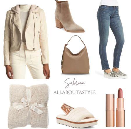 Fall Fashion pieces #nordstromrack #Fall #fashion #jeans #slippers #motojacket #purse #booties  #LTKSeasonal #LTKGiftGuide #LTKHoliday