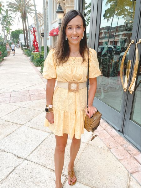 Red dress boutique yellow puff sleeve dress with belt  #LTKtravel #LTKunder50 #LTKunder100