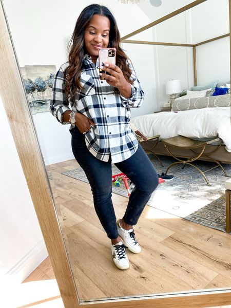 Abercrombie boyfriend flannel shirt in size L paired with their jeans size 31.#LTKSale   #LTKunder100 #LTKstyletip #LTKHoliday