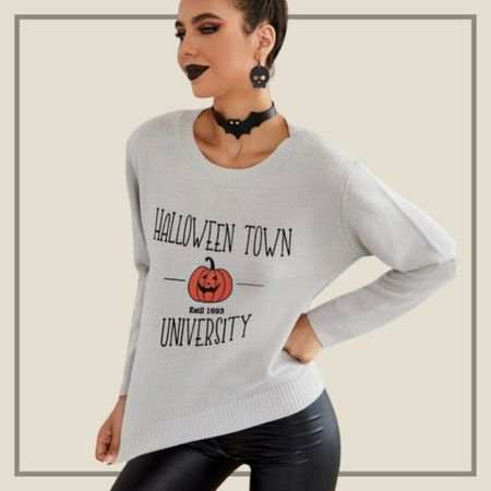 Halloween pumpkin and letter graphic sweater   #LTKstyletip #LTKunder50 #LTKSeasonal