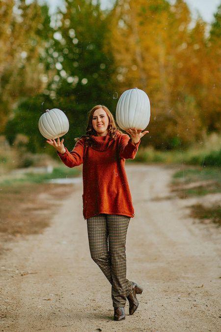 Oversized Burnt Orange Turtleneck Sweater, Plaid Pants in Size Medium, Snakeskin Boots are on Sale!   #snakeskin #oversizedsweater #pumpkins  #LTKunder50 #LTKsalealert #LTKstyletip