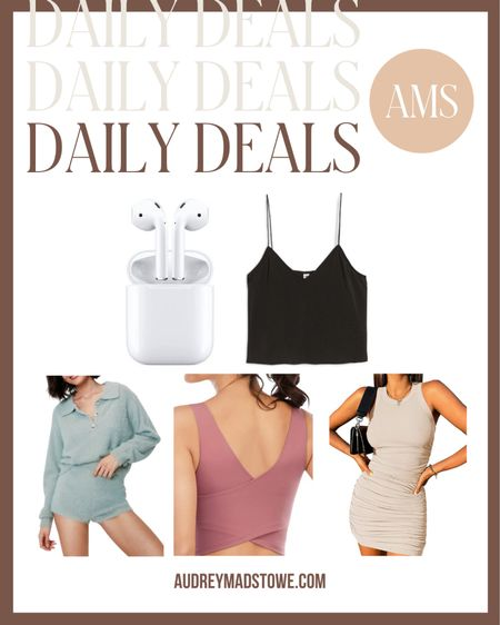 DAILY DEALS ⭐️  — AirPods $50 off (great Father's Day gift idea!) — Satin cami under $15 — Two piece cozy lounge set — Criss cross back workout tank — Ribbed bodycon mini dress  #LTKstyletip #LTKsalealert #LTKunder50