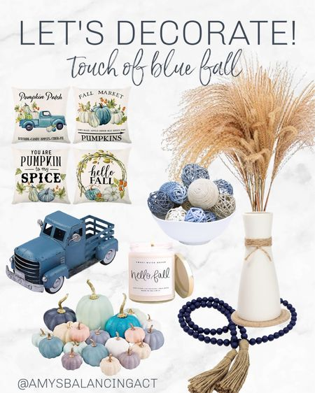 I love a pop of blue in my fall decor! These items give me fall farmhouse vibes with a touch of color.   Fall decor favorites | Amazon home decor | Blue home decor | Colored pumpkins | Pampas grass  #LTKSeasonal #LTKhome #LTKunder50
