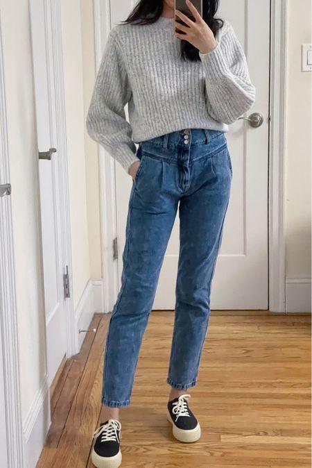 Straight leg jeans, mom jeans, knit sweater, wool sweater, sezane, french girl style, classic style, denim, spring style, nyc style, sneaker, platform sneaker, slip on shoe,   #LTKsalealert #LTKstyletip #LTKSpringSale