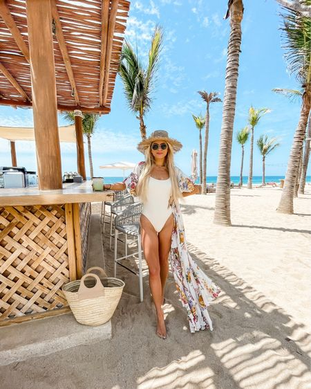 beach vacation, vacation style, maxi dress, cover-up, white bathing suit, Monday swimwear, white one-piece, straw hat, beach outfit, vacation outfit http://liketk.it/3esTE #liketkit @liketoknow.it #LTKunder50 #LTKtravel #LTKswim