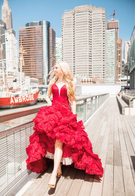 I got this dress from a girl who had used it in a pageant, but I am amazed at how many similar dresses Amazon actually has!  Sweetheart ruffle mermaid dress  Gold closed toe heels  Red gown  Spark some light into a photoshoot with a colorful gown   #LTKunder100 #LTKunder50 #LTKwedding