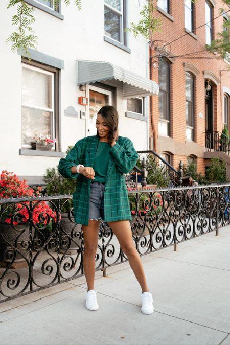 Spring summer outfit denim shorts blazer http://liketk.it/3h0g8 #liketkit @liketoknow.it #LTKunder100 #LTKunder50 #LTKstyletip