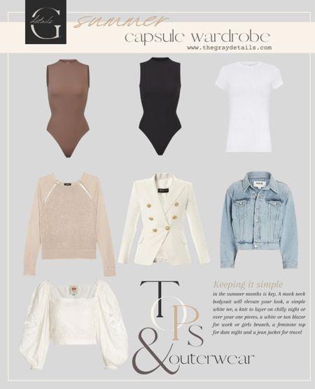 Summer capsule wardrobe / summer tops / summer blazer / denim jacket   #LTKstyletip #LTKtravel #LTKworkwear