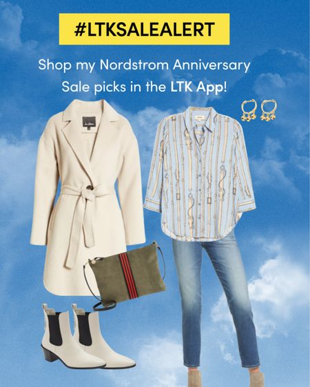 Must have pieces for your closet for Fall in the Nordstrom Anniversary Sale, add these to your wish list ready for when you can shop on 28th July unless your a Nordy Card holder & you can shop from July 12th.   Mini disc huggie earrings,   Rag& bone Le Lexington Chelsea boot.  Belted wool blend cream coat    Camille belt print blouse. Single sack brettelle suede bag.   AG Jeans ex boyfriend jeans.  Keep following me for more updates!    #nsale, #nordysale #nordstromoutfits #nordstromjeans #AGjeans #falllook   #LTKstyletip #LTKsalealert #LTKcurves