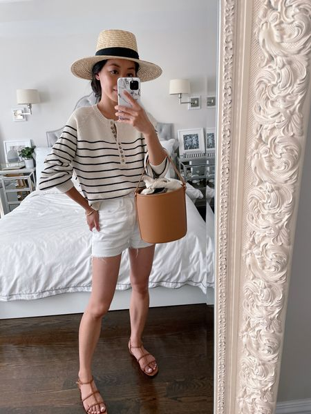 """beach vacation style or 4th of July outfit// casual summer fashion  •Sezane striped pullover sweater xxs (petite friendly) finally bought this off my wishlist and am so happy with it! Great quality, fit and weight.  •Express white denim shorts 00 (hems cut 1"""" shorter) •J.Crew double t strap sandals 5.5 •Brixton sun hat size small •Who What Wear bucket bag - has a convertible crossbody strap and the canvas liner bag is removable http://liketk.it/3iCw2 #liketkit @liketoknow.it   #LTKSeasonal #LTKstyletip"""