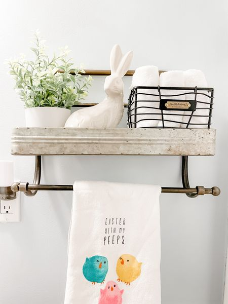 Bathroom shelf is up and styled with items from Target! I just love how it changes my space! Bathroom decor can be really tricky, but I think I've finally figured it out!   #LTKSeasonal #StayHomeWithLTK #LTKhome