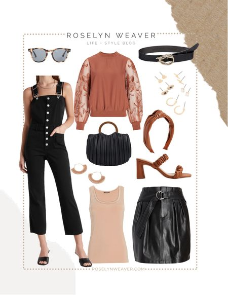 New Fall Outfits at Express   Mini faux leather skirt, organza sleeve top, overalls, faux leather headband, vegan leather crossbody, vegan leather, tote, faux suede earrings, heeled sandals, basic top  #LTKunder50 #LTKsalealert #LTKSale