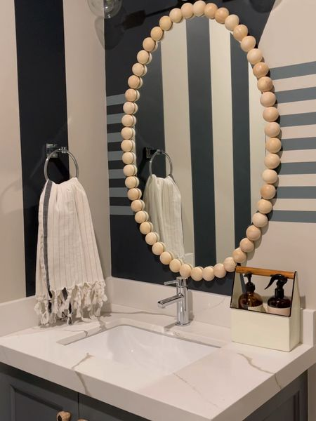 DIY DESIGNER DUPE MIRROR IN 5 min! Wood 1/2 rounds  Adhesive Frameless mirror - oval or round!  #diy #homedecor #bathroom   #LTKstyletip #LTKhome
