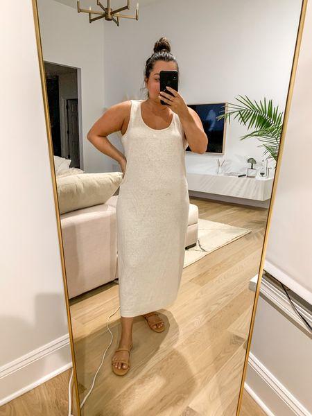 Long comfy dress old navy maxi dress in large and  Amazon sandals tts   #LTKstyletip #LTKSeasonal #LTKunder50