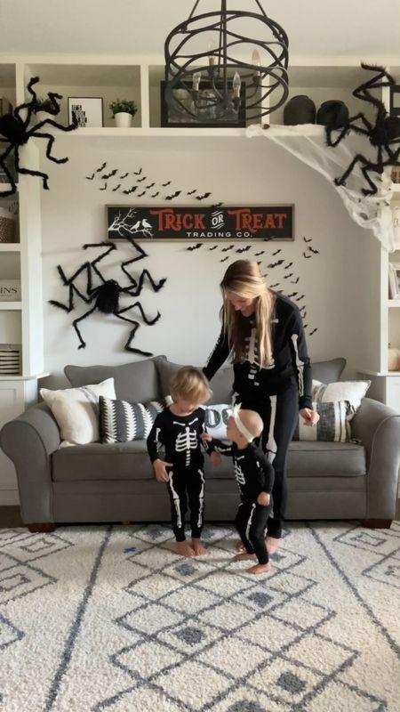 Matching family pajamas, jammies pjs skeleton pajamas spiders bats trick or treat Halloween decor spider webs playroom kids decor  #LTKSeasonal #LTKfamily #LTKkids