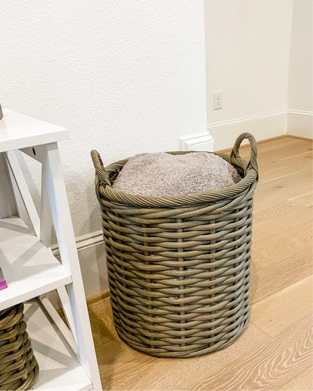 Tall storage basket for living room / home decor / gray throw blanket / storage organization / pottery barn basket collection    #LTKunder50 #LTKunder100 #LTKhome