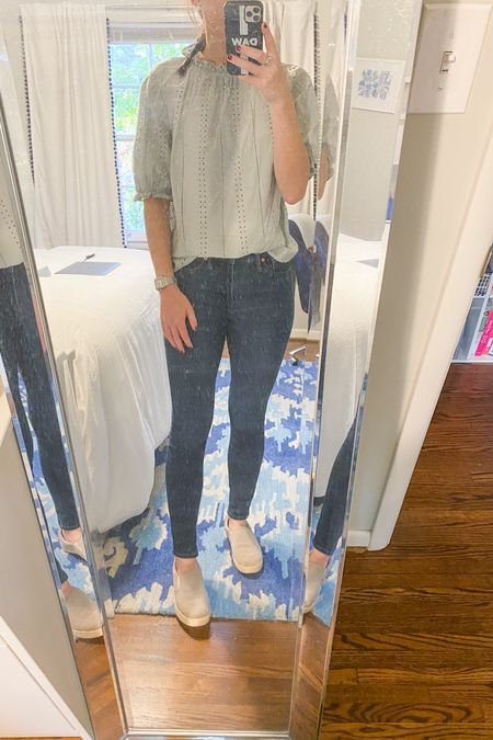 Worn to work. This shirt was a great target find that has easily gone from spring to fall for me. Paired woth my favorite Madewell jeans and comfortable slides it made for a simple but put together outfit for work. @liketoknow.it #liketkit #LTKunder50 #LTKunder100 #LTKworkwear http://liketk.it/2ZEgz