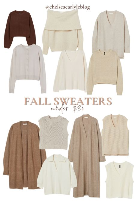 Shop fall style must-haves on sale! 20% off $75 + free shipping with code 4763  Get 20% off these neutral fall sweaters - under $30!  | fall outfit | outfit inspiration | affordable style | affordable oufits | affordable denim | jeans | denim dress | fall dress | fall wedding guest dress | trench coat | coat | jacket | neutral style | sweaters | knits | boots | Chelsea boots | button down | fall layers | hm | h&m |     #LTKSeasonal #LTKsalealert #LTKunder50