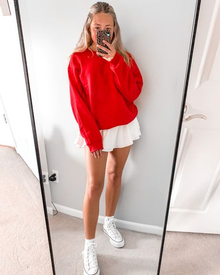 happy saturday y'all!! i have been LOVING this crewneck from walmart. super affordable and cozy, perfect for the holiday season! make sure to grab one before they are gone:) #walmartfinds #giftgiving #gifting #holidayseason #platformconverse #red #christmas #happyholidays http://liketk.it/32Aii #liketkit @liketoknow.it @liketoknow.it.family