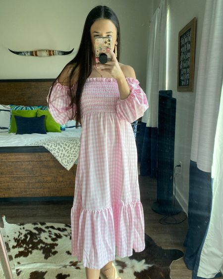 You can instantly shop my looks by following me on the LIKEtoKNOW.it shopping app http://liketk.it/3fXwa @liketoknow.it #liketkit #LTKbump #LTKfamily midi dress, pink gingham, shein, puff sleeve dress, off the shoulder, bump friendly, maternity wear, family photo outfit, under $20