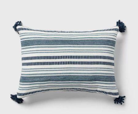 Threshold pillow, striped pillow, throw pillow, blue pillow    #LTKunder100 #LTKsalealert #LTKhome