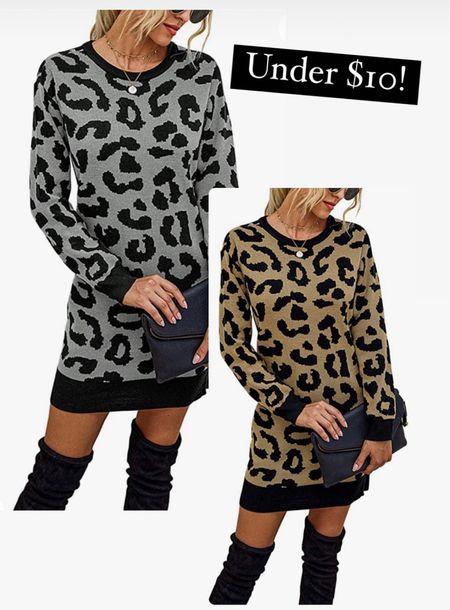 Leopard print sweater dress under $10                 Amazon fashion  Amazon finds  Fall outfits Fall fashion    #LTKsalealert #LTKunder50 #LTKstyletip