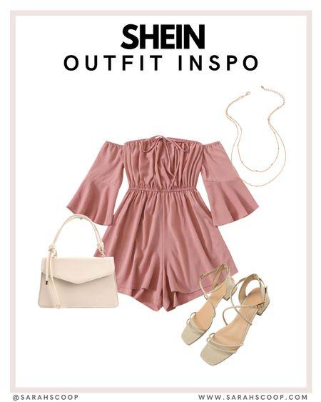Shein outfit inspo ✨  Shein | romper | sandals | ivory | purse | outfit inspo  #LTKshoecrush #LTKunder50 #LTKstyletip