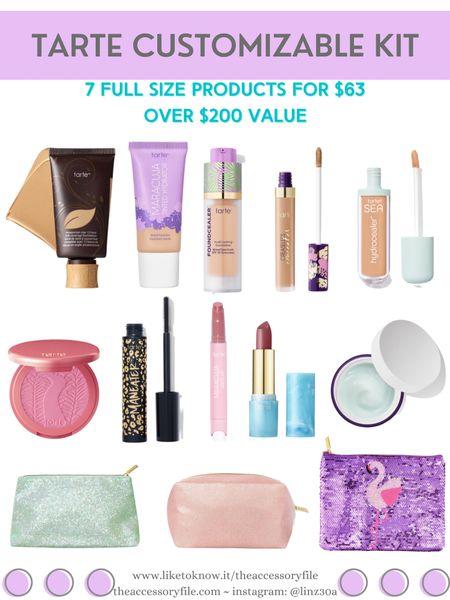 Tarte customizable kit - 7 full sized products for $63 - over $200 value   http://liketk.it/3hM1y #liketkit @liketoknow.it #LTKbeauty #LTKsalealert #LTKtravel makeup, skincare, concealer, makeup bag, blush,  foundation, lipstick