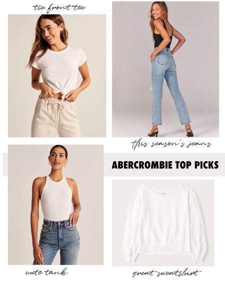 Spring Sale: this knotted front tee, cute white sweatshirt, high waisted straight jeans, and tank bodysuit - are all on sale for 25% off. #abercrombie #springtrends #summertrends #highwaistedjeans #abercrombiejeans #abercrombiesweatshirts #abercrombiesale  #LTKunder100 #LTKunder50 #LTKSpringSale