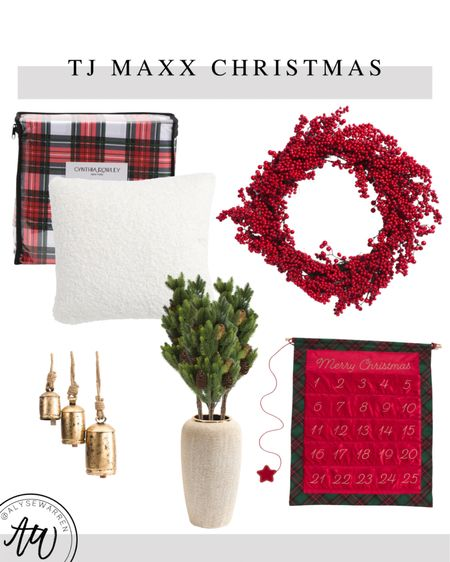 """Affordable Christmas decor avail at TJ Maxx online!  24"""" red berry wreath, front door, tplaid flannel bedsheets, bedding, bedroom, teddy pillow, couch, sofa, living room, gold bells, floral stems, pine, advent calendar, entryway, table decor, coffee table, mantle decor  #LTKhome #LTKHoliday"""