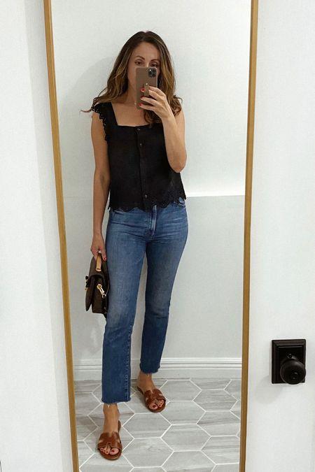 Jeans and top run tts. Size up in slides   #LTKstyletip #LTKshoecrush #LTKsalealert