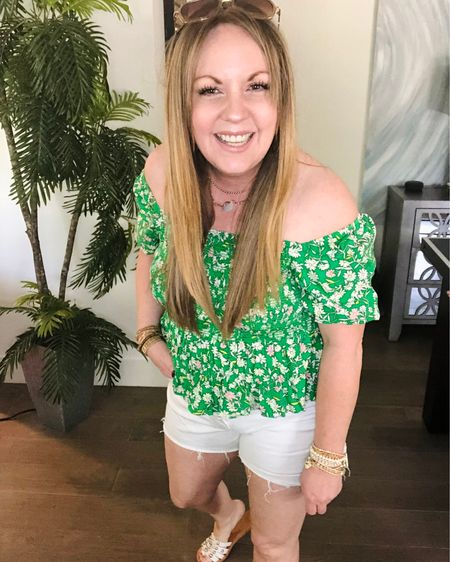 http://liketk.it/3hX5h #liketkit @liketoknow.it #LTKsalealert #LTKstyletip #LTKunder50 scoop floral smocked top, puff sleeves, off shoulder, white denim shorts, embellished sandals
