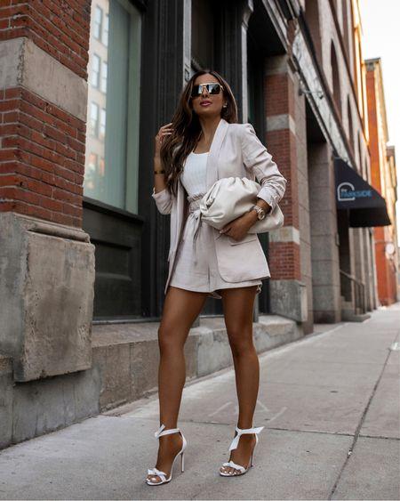 Walmart summer fashion  Walmart linen blazer  Walmart linen paperbag shorts #walmartfashion   #LTKunder50 #LTKstyletip #LTKunder100