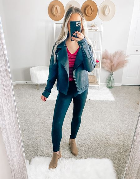 This black moto jacket is a must have for your closet 🖤 it's amazing quality and super versatile 🙌🏻 wearing a xs for a more fitted look. If you want it to fit more oversized then size up 1  . . . Leather moto jacket, moto jacket, black moto jacket, fall jacket, black leggings, grace and lace   #LTKSeasonal #LTKstyletip #LTKunder50