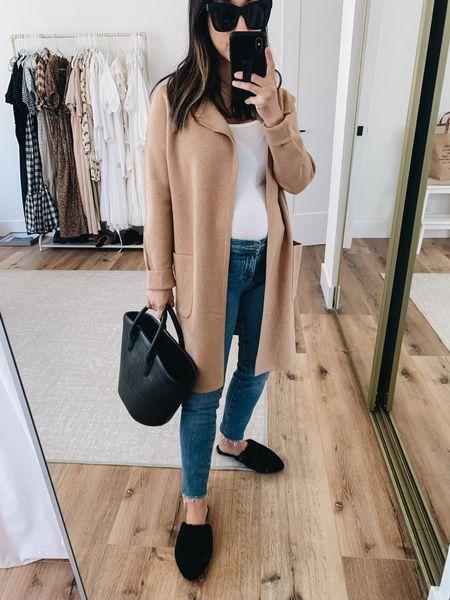 Jcrew Juliette cardigan on sale! Best maternity jeans. Jenni Kayne shearling mules. Use code Crystalin15 to get 15% off Jenni Kayne  Cardigan - J.crew xxs Tank - Everlane small Jeans - AG 24 Mules - Jenni Kayne 35 Tote - Vasic  Sunglasses - Quay   #LTKbump #LTKshoecrush #LTKsalealert